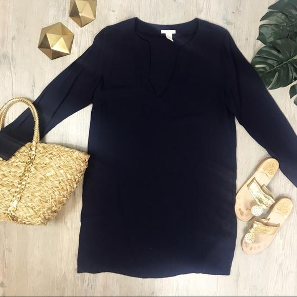 6c484bff5f47 H&M Dresses | Hm Navy Blue Vneck Long Sleeve Shift Dress 14 | Poshmark
